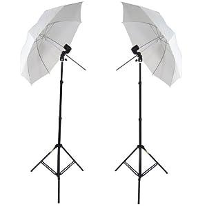 DynaSun W963S Pack de 2 Kit d'éclairages pour Studio Photo/Vidéo avec 2 Trépieds + 2 Douilles + 2 Parapluies + 2 Sacs pour Flash Barebulb lumière