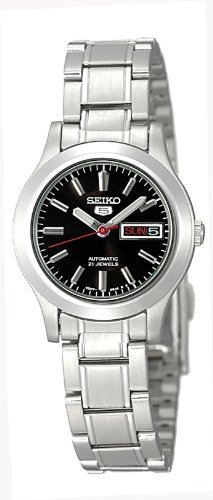 Seiko Women's SYMD95K Silver Stainless-Steel Automatic Watch with Black Dial