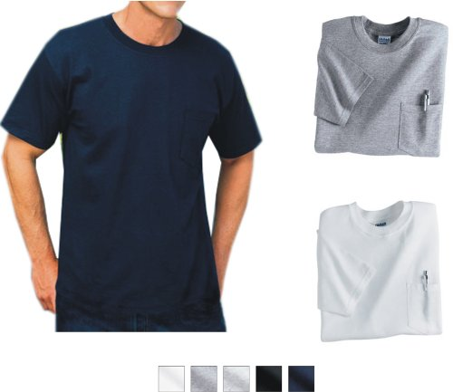 ... pocket tee. 5.6 oz., cotton tee. Left chest pocket. Double-needle