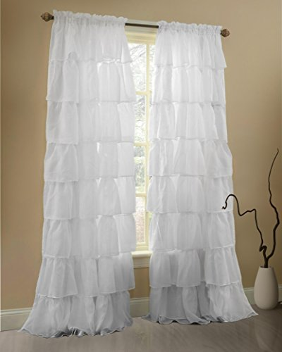 ruffle curtains rod pocket window panels white 60wx84l