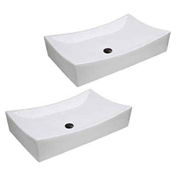 "GHP 26""x 15.7""x 5.5"" Set of 2 Bathroom Vessel Sink Basin w Oil Rubbed Bronze PopUp Drain"