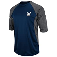 Majestic Mens Mlb Therma Base Featherweight Tech Fleece Pullover Milwaukee... by Majestic Athletic