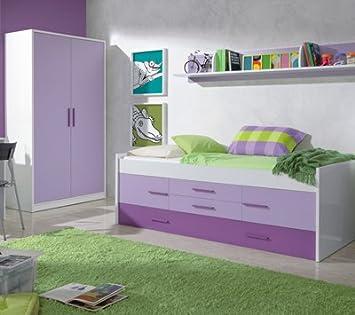 Mobimarket - Habitaciones Juveniles en blanco frontales lilas