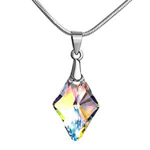 Pugster 925 Sterling Silver Clear Swarovski Crystal Pendant Necklace For Women