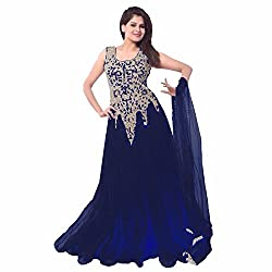 Siddh Creation Straight Gown Blue Embroidered suit