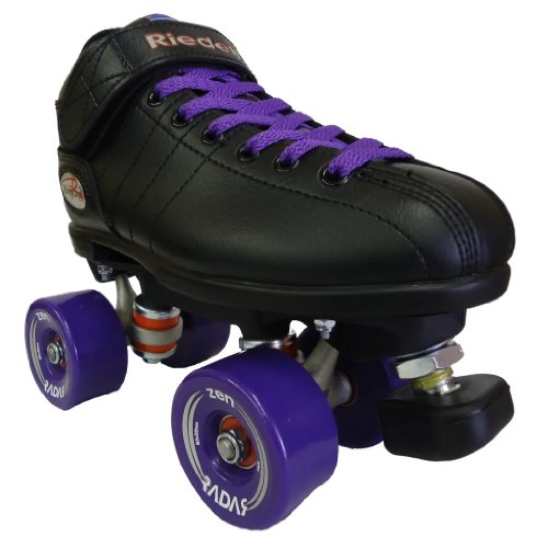 Riedell-R3-Zen-Outdoor-Quad-Roller-Skates-Roller-Derby-Skate-wTwo-Pairs-of-Laces-Black-Purple