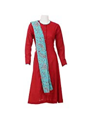 Moh Red Kali Dress With Printed Detailing
