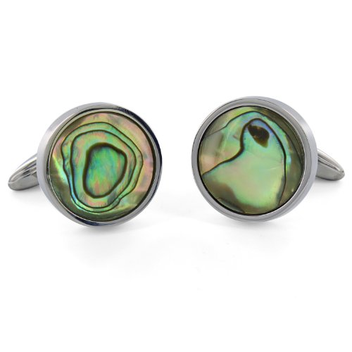 Stainless Steel Men's Mother of Pearl Cuff Links