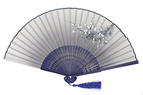 DawningView Japanese Folding Fan, with East Asian Ink Paintings/Suibokuga/Sumi-e (Plum Blossom, Dark Blue)