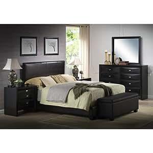 black king size bed faux leather with headboard footboard frame rails kitchen dining. Black Bedroom Furniture Sets. Home Design Ideas
