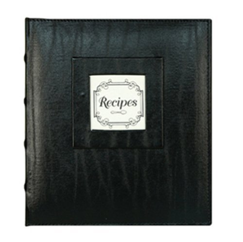 CR Gibson Pocket Page Recipe Book, Black Leather Initial Gou