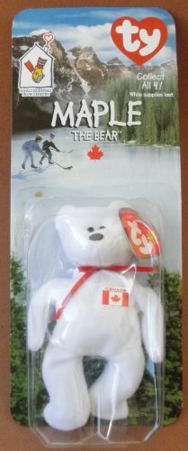 1 X TY Beanie Babies Maple the Bear Plush Toy Stuffed Animal McDonalds Collectible - White with Canadian Flag on Chest - 1