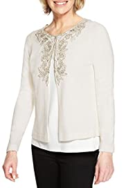 Classic Cashmilon Beaded Floral Embroidered Cardigan [T58-8779-S]