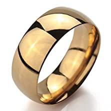 buy Men,Women'S Wide 8Mm Stainless Steel Ring Band Gold Classic Wedding Polished Size14