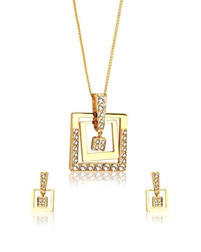 Shiny Cristal Set laccio e orecchini metallo placcato oro 24 kt