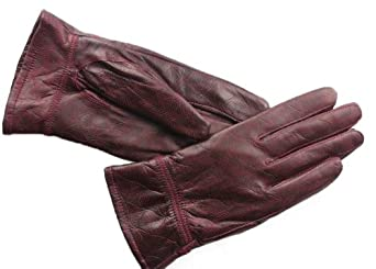 ATHN Women's Genuine Leather Plush Lined Windproof Driving Casual Gloves