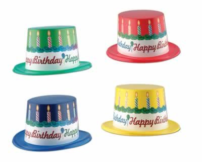 Plastic Toppers w/Happy Birthday Band (asstd colors) Party Accessory  (1 count) - 1