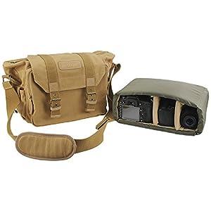BESTEK® 一眼レフカメラバッグ クッションボックス 付き 大切なレンズを保護に キャンバス素材・帆布生地 防水仕様 カメラ・レンズ保護用 ソフトインナーケース おしゃれ ショルダー バッグ iPad入り可 男女兼用 アウトドア撮影の絶品! DSLR Camera Shoulder Backpack Bag BTDB01