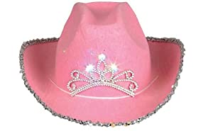 Child Pink Blinking Tiara Cowboy Hat