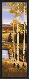 14in x 38in Morning Calm III by Henry Kim - Black Floater Framed Canvas w/ BRUSHSTROKES