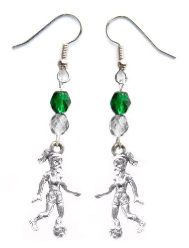 """""""Soccer Girl"""" Soccer Earrings (Team Colors Forest Green & Silver)"""