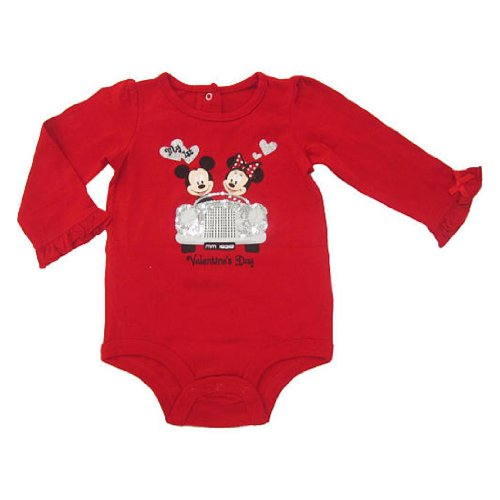 Disney Mickey & Minnie Mouse My First Valentine's Day Baby Bodysuit Dress Up Outfit