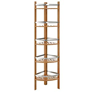 Altra Furniture Bamboo Bathroom Corner Tower With 5 Shelves Cherry Finish Free