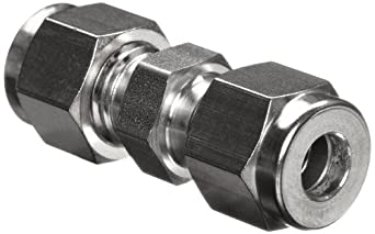 Parker A-Lok 10SC10-316 316 Stainless Steel Compression Tube Fitting, Union, Tube OD