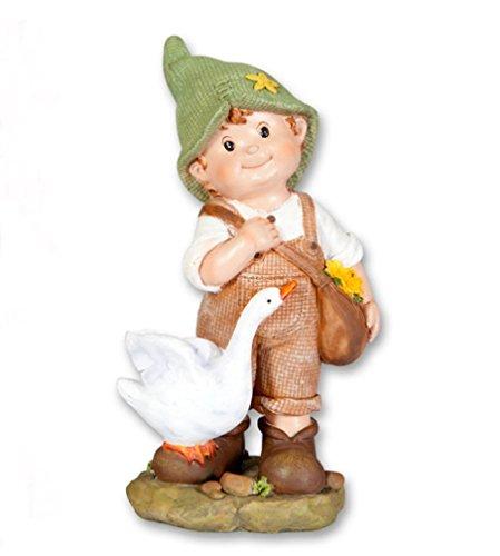 Deko Figur Junge mit Gans Tasche Garten Kind Wichtel Mädchen Skulptur Zwerg Gnom