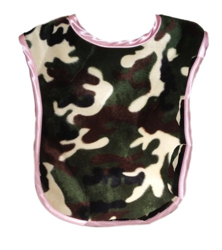 Patricia Ann Designs Camouflage Reversible Bib, Pink Fleece And Pink Satin Trim front-324423