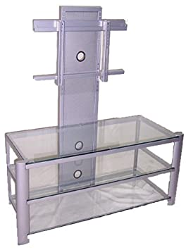 Lite Source LSH-5612SILV Burly 3-Tier TV Stand, Silver Metal Frame with Clear Tempered Glass Shelves