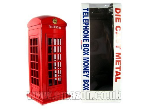 London-Souvenir-Die-Cast-Metal-Red-Telephone-Box-Money-Box-Kitchen-Home