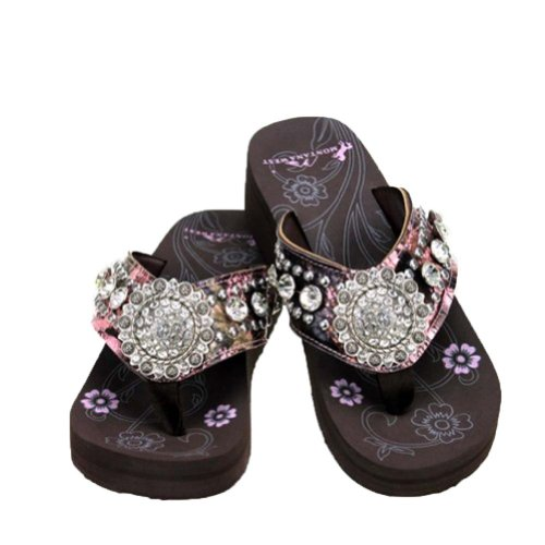 MONTANA WEST PINK CAMO FLORAL CONCHO COLLECTION CAMOUFLAGE RHINESTONES WESTERN SANDAL FLIP FLOP (SIZE 9)