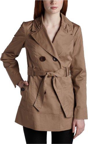 Jolt Juniors Solid Swing Trench Coat,Khaki,Medium