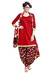 Rudra Textile Women's Red Cotton Punjabi Suit