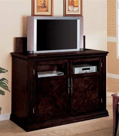 Cheap Entertainment Console Table with TV Lift Espresso Finish (VF_AM2037)