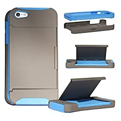 iPhone 5 Wallet Case, Nue Design Cases TM High Impact Credit Card Holder Wallet Soft + Hard Hybrid Rubberized Internal Shell Dual Layer Case Cover For iPhone 5/5s - GREY BLUE