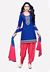 Blue and Red Cotton Salwar Suit Dress Material Suit