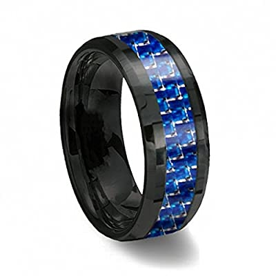 Men's Blue & Black Tungsten Ring with Thin Blue Line Carbon Fiber 8mm Wedding Band Size 6-13 Half Size