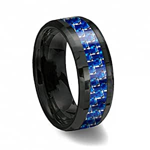 s blue black tungsten ring with thin blue line