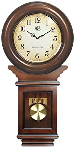 River City Clocks Chiming American Regulator Wall Clock with Swinging Pendulum and Cherry Finish - 27 Inches Tall - Model # 3416C