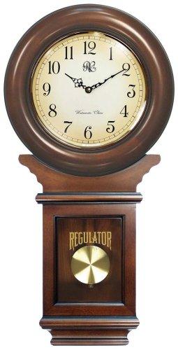 River City Clocks Chiming American Regulator Wall Clock with Swinging Pendulum and Cherry Finish - 27 Inches Tall - Model # 3416C