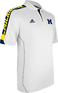 NCAA adidas Michigan Wolverines Sideline Swagger Performance Polo - White by adidas