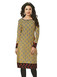 PShopee Gold Cotton Printed Unstitched Kurti/Top Material