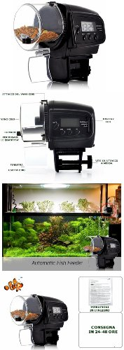 Digital Mini Automatic LCD Aquarium Fish Tank Food Feeder Timer up to 4 Feeding Times + High Accuracy Submersible Aquarium Index Thermometer (Aquarium Timer Digital compare prices)