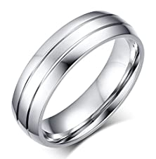 buy Amdxd Jewelry Titanium Stainless Steel Men'S Engagement Rings Smooth White 6Mm Wide Us Size 9