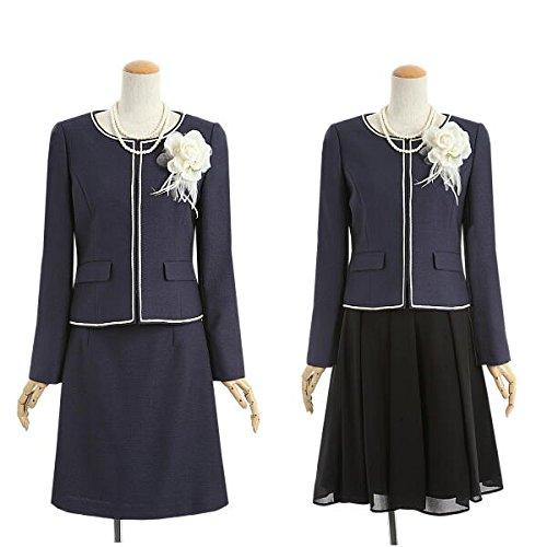 (アンジェリカ)Angelica ネイビー 11号 高品質セレモニースーツ 3点セット ノーカラージャケット 2ボトム スカートスーツ 紺