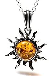 """Honey Amber and Sterling Silver Flaming Sun Pendant, 18"""""""
