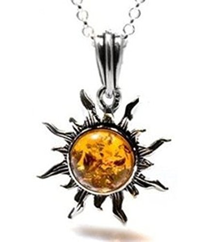 Honey Amber and Sterling Silver Flaming Sun Pendant, 18