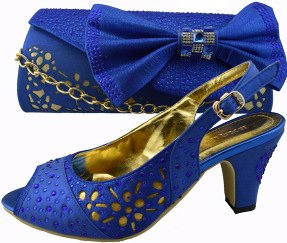 Ladies Royal Blue Italian Peep Toe Shoes and Bag Set (UK Size 6)